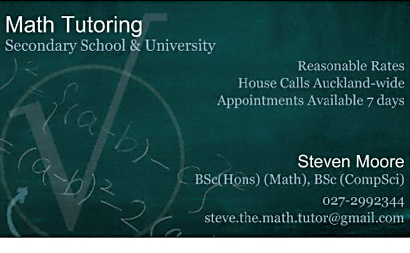 Tutoring service steve the math tutor business card reheart
